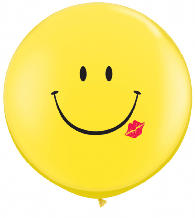 3' Yellow  A Smile & A Kiss Latex Balloons x 2